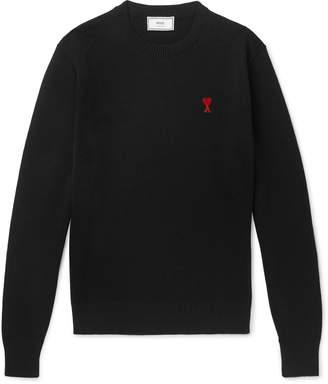Ami Slim-Fit Logo-Appliqued Merino Wool Sweater