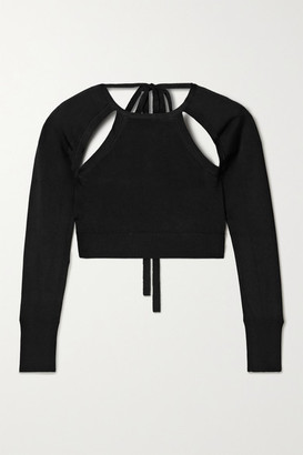 Cult Gaia Aurora Cropped Cutout Stretch-knit Top - Black