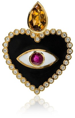 Holly Dyment Ruby and Diamond Heart Evil Eye Pendant Necklace