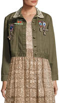 Alice + Olivia Chloe Embroidered Cropped Army Jacket w/ Pins