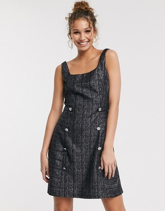 Paper Dolls pinafore mini dress with gold button detail in black