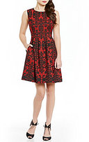 Anne Klein Novelty Jewled Neck Jacquard Fit-And-Flare Dress