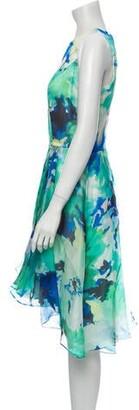 CARMEN MARCH Silk Midi Length Dress Green