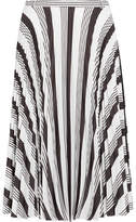 Balenciaga Pleated Printed Crepe Skirt - White