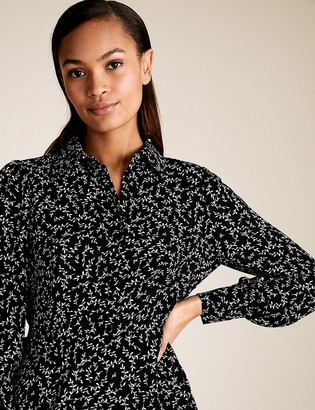 Marks and Spencer Leaf Print Puff Sleeve Mini Shirt Dress