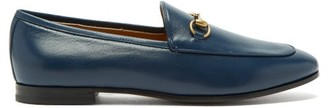 Gucci Jordaan Horsebit Leather Loafers - Navy