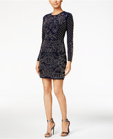 Xscape Evenings Beaded Long-Sleeve Bodycon Dress