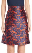 Akris Punto Pebble Print Jacqurd A-Line Skirt