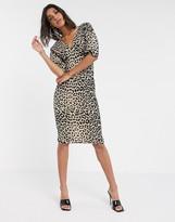 Asos Design DESIGN midi bodycon dress in animal print