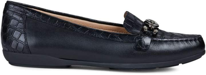 Geox Annytah Crocodile-Embossed Leather Moccasins