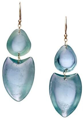 Ten Thousand Things 18K Yellow Gold & Aquamarine Double Heart Earrings
