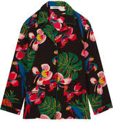 Valentino Printed Silk Crepe De Chine Shirt - Black