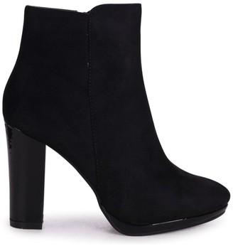 Linzi MADDIE - Black Patent & Suede Round Toe Minimal Platform Ankle Boots