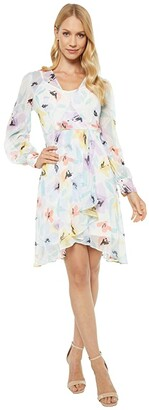 Calvin Klein Long Sleeve Floral Chiffon Dress with Surplus Neck (Seaspray Multi) Women's Dress