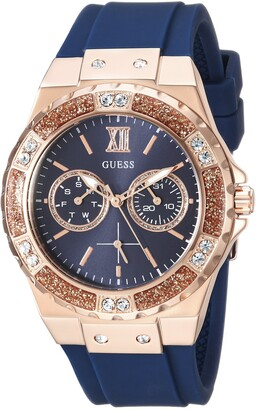 GUESS Women's Stainless Steel Japanese Quartz Watch with silicone Strap