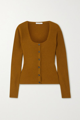 Vince Ribbed Cashmere Cardigan - Brown