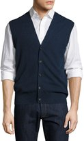 Neiman Marcus Cashmere Button-Front Vest, Inkwell