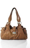 Nicole Farhi Brown Leather Double Handle Zip Top Hobo Handbag