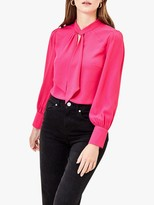 Oasis Pussy Bow Balloon Sleeve Blouse, Bright Pink