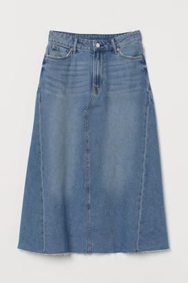 H&M A-line Denim Skirt - Blue