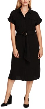 Vince Camuto Belted Cuffed-Sleeve Shirtdress