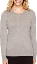 WORTHINGTON Worthington Long-Sleeve Crewneck Pullover Sweater - Petite