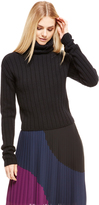 DKNY Cropped Ribbed Pullover