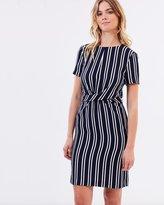 Warehouse Twist Front Stripe Dress
