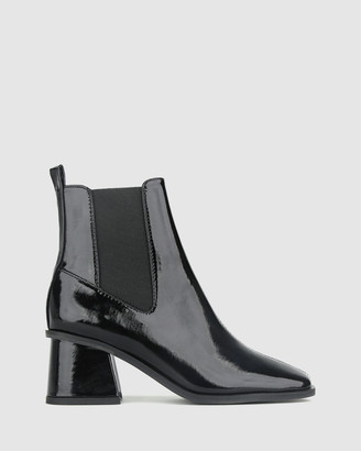betts Archie Patent Block Heel Ankle Boots