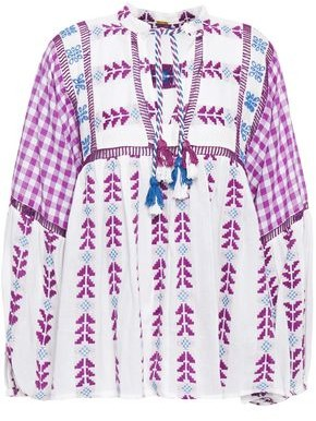 Dodo Bar Or Tasseled Gingham And Embroidered Cotton-gauze Blouse
