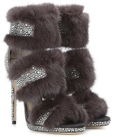 Jimmy Choo Kai 120 Mink Fur-trimmed Crystal-embellished Suede Sandals