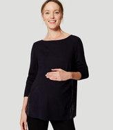 LOFT Maternity Plaid Pleated Sweater