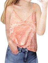 uxcell® Woman Deep V Neck Sleeveless Loose Velvet Cami Top M