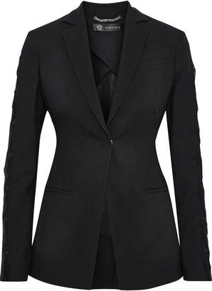 Versace Appliqued Chiffon-trimmed Wool-blend Blazer