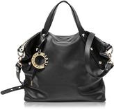 Francesco Biasia Iris Black Leather Handbag w/Shoulder Strap