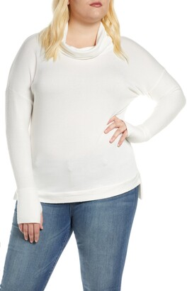 Loveappella Loveapella Reverse Contrast Cowl Neck Long Sleeve Top