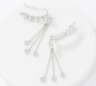 Diamonique Ear Climber Earrings with Hanging Bezel Stones,Sterling
