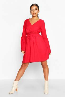 boohoo Lace Trim Flared Sleeve Skater Dress