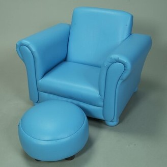 Harriet Bee Aultman Children's Faux Leather Chair and Ottoman Color: Blue