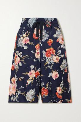 Dries Van Noten Embellished Floral-print Satin Shorts - Blush