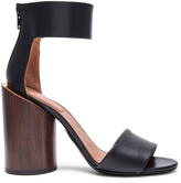 Givenchy Polly Shiny Leather Sandals with Wood Heel