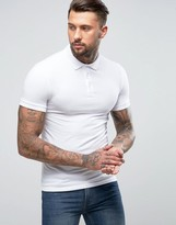 Asos Extreme Muscle Polo Shirt In White