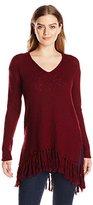 Karen Kane Women's Fringe V-Neck Sweater