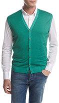 Kiton Menswear Cashmere-Silk Cardigan Vest, Green