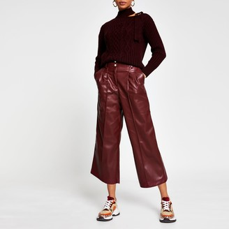 River Island Womens Red Faux Leather cullottes