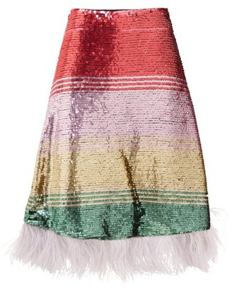 La DoubleJ Feather-trimmed Sequinned Skirt - Womens - Pink Multi