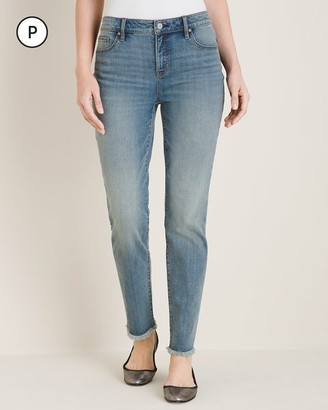 So Slimming Petite Frayed-Hem Girlfriend Ankle Jeans