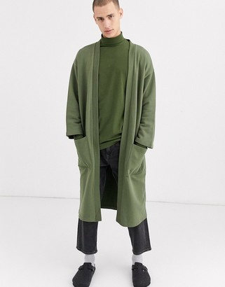Asos Design DESIGN longline jersey kimono cardigan in khaki-Green