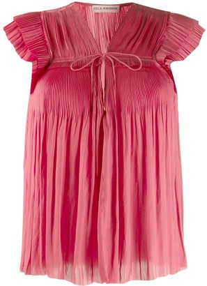 Ulla Johnson Short-Sleeve Pleated Top