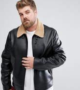 Asos Plus Faux Shearling Jacket In Black
